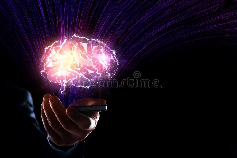 искусственний мозг обходит вокруг mainboard электронной сведении принципиальной схемы сверх стоковое изображение