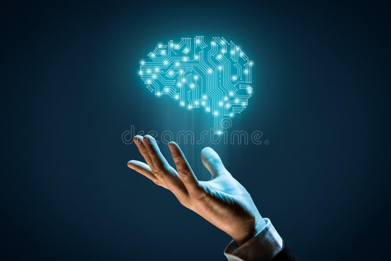 искусственний мозг обходит вокруг mainboard электронной сведении принципиальной схемы сверх стоковая фотография rf