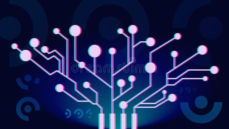 искусственний мозг обходит вокруг mainboard электронной сведении принципиальной схемы сверх Футуристический мозг технологии и роб бесплатная иллюстрация
