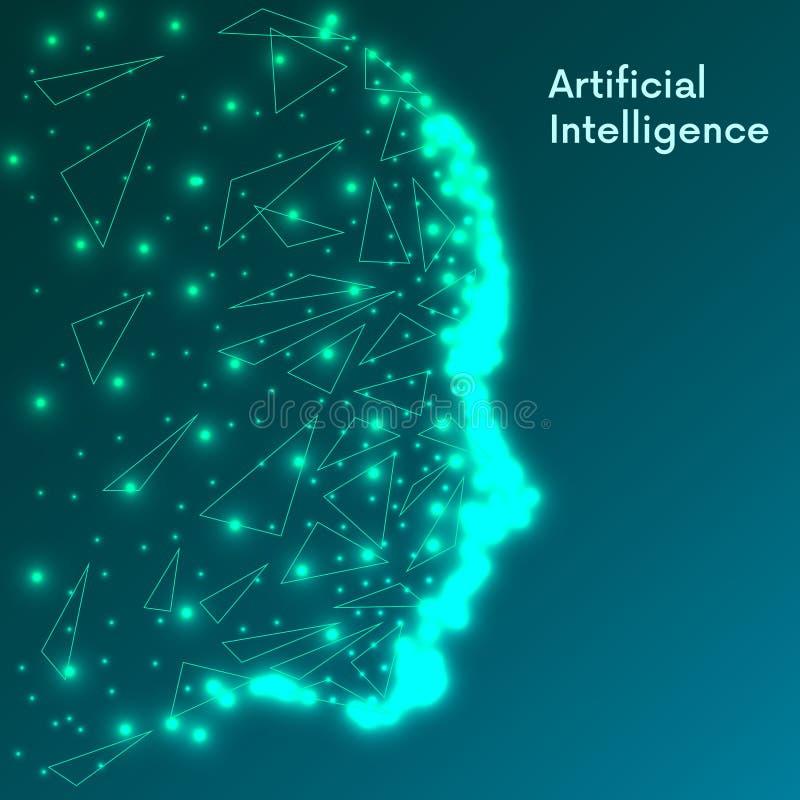 искусственний мозг обходит вокруг mainboard электронной сведении принципиальной схемы сверх Футуристическое человеческое большое  иллюстрация вектора