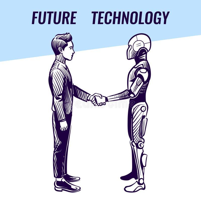 искусственний мозг обходит вокруг mainboard электронной сведении принципиальной схемы сверх Handshaking человека и робота Футурис иллюстрация вектора