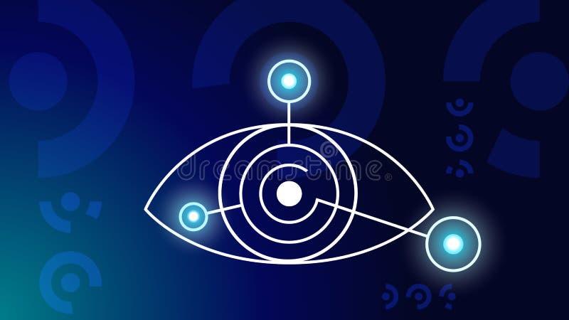 искусственний мозг обходит вокруг mainboard электронной сведении принципиальной схемы сверх Футуристический мозг технологии и роб иллюстрация штока