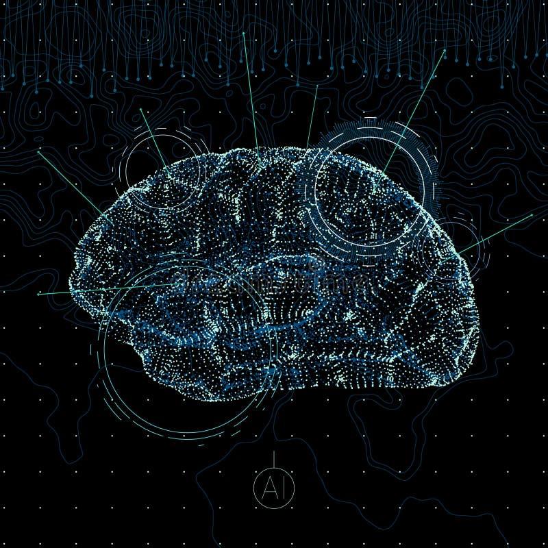 искусственний мозг обходит вокруг mainboard электронной сведении принципиальной схемы сверх иллюстрация штока