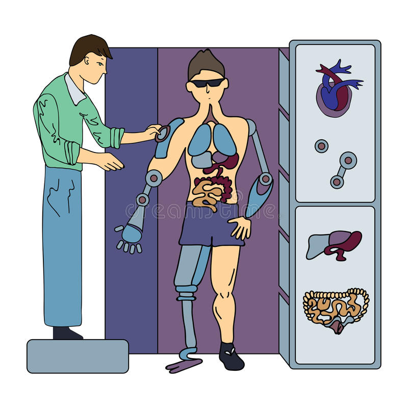 Искусственные внутренние органы Хирургия будущего Хирург и киборг Иллюстрация вектора, изолированная на белизне бесплатная иллюстрация