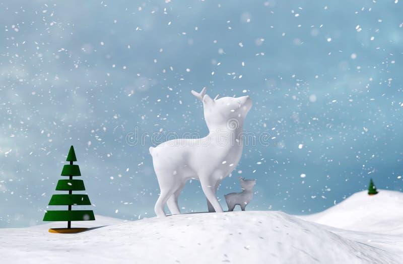 Искусственные олени младенца украшают в снеге зимы иллюстрация штока