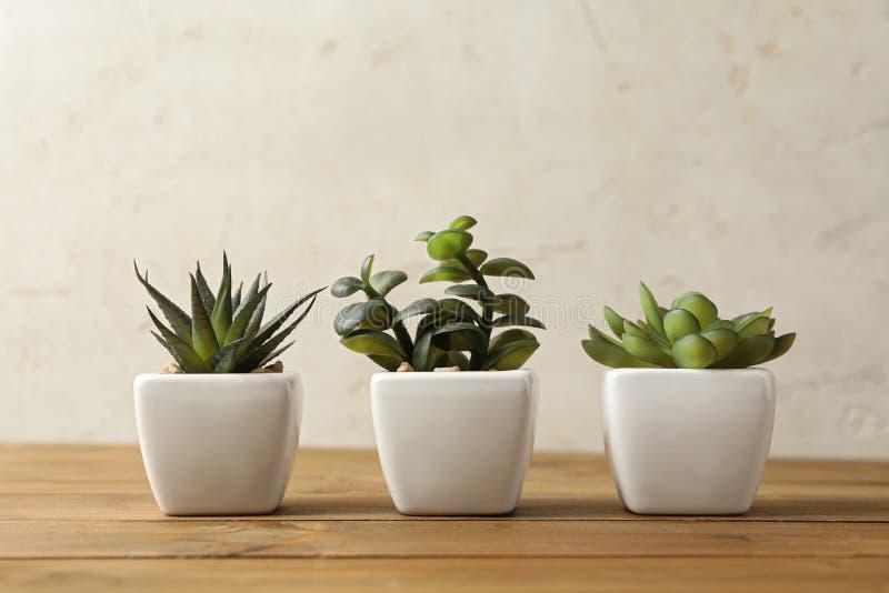 Искусственные растения в белых цветочных горшках на столе стоковые фотографии rf