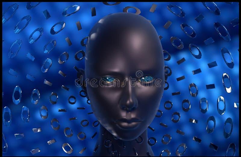 Искусственный интеллект безопасностью кибер стоковое изображение rf