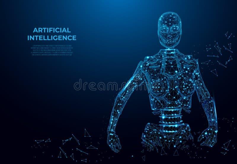 Искусственный интеллект в виртуальной реальности, роботе Концепция wireframe вектора Изображение вектора полигональное, искусство иллюстрация штока