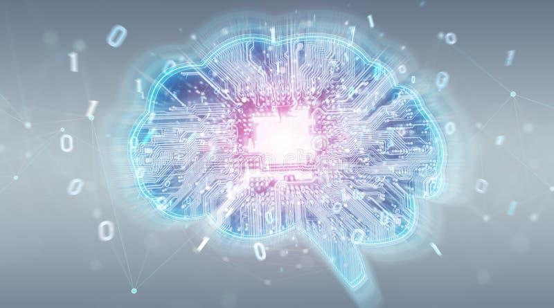 Искусственный интеллект в цифровом renderi предпосылки 3D мозга иллюстрация штока