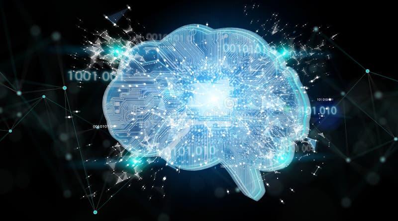 Искусственный интеллект в цифровом renderi предпосылки 3D мозга иллюстрация вектора