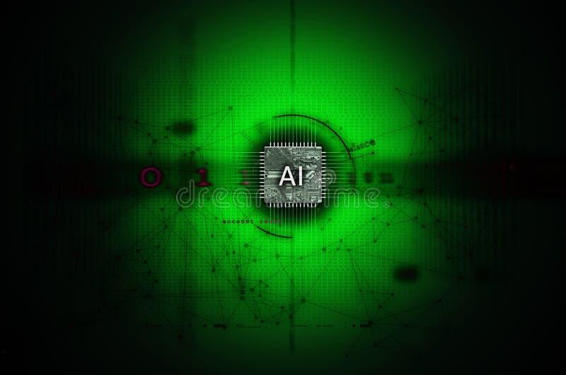 Искусственный интеллект и зеленый цвет иллюстрации машинного обучения стоковые фотографии rf