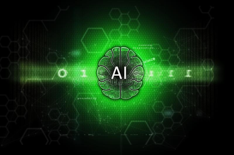 Искусственный интеллект и зеленый цвет иллюстрации машинного обучения стоковое фото