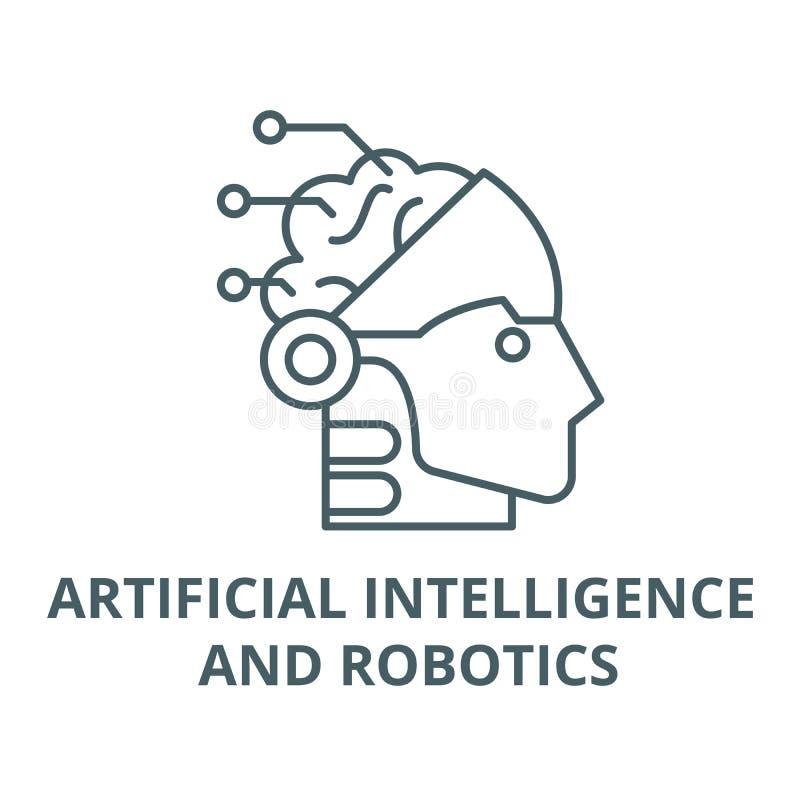 Искусственный интеллект и линия значок робототехники, вектор Знак искусственного интеллекта и плана робототехники, концепция иллюстрация штока