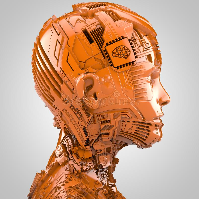 Искусственный интеллект и робототехника иллюстрация вектора