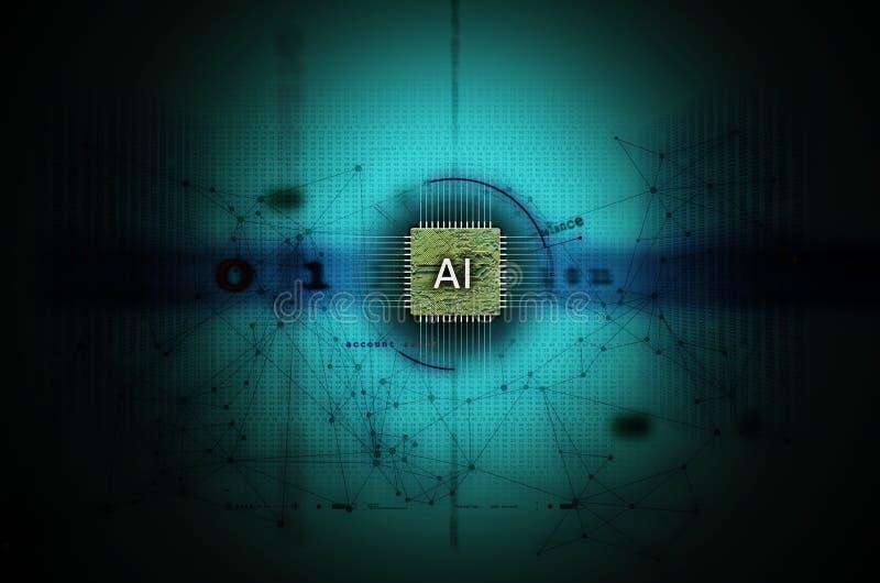 Искусственный интеллект и свет иллюстрации машинного обучения - синь стоковая фотография