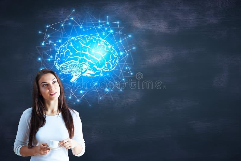 Искусственный интеллект и сеть стоковое изображение