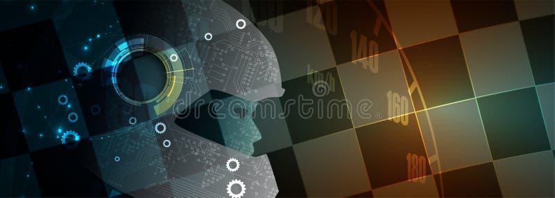 Искусственный интеллект может управлять Технология w гоночного автомобиля спорта иллюстрация вектора