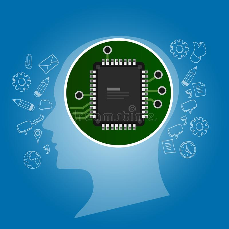 искусственный интеллект План человеческой головы с процессором обломока монтажной платы внутрь технология и электронная концепция бесплатная иллюстрация