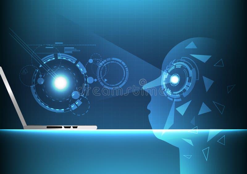 Искусственный интеллект, предпосылка следующего поколени цифровой технологии футуристическая абстрактная, иллюстрация вектора пол иллюстрация вектора