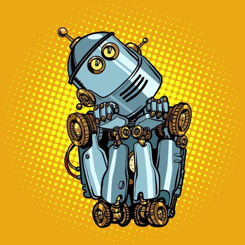 Искусственный интеллект робота думает мечты иллюстрация штока