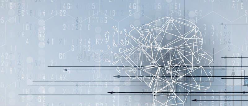 Искусственный интеллект с формой треугольника Предпосылка сети технологии Виртуальное conc иллюстрация вектора