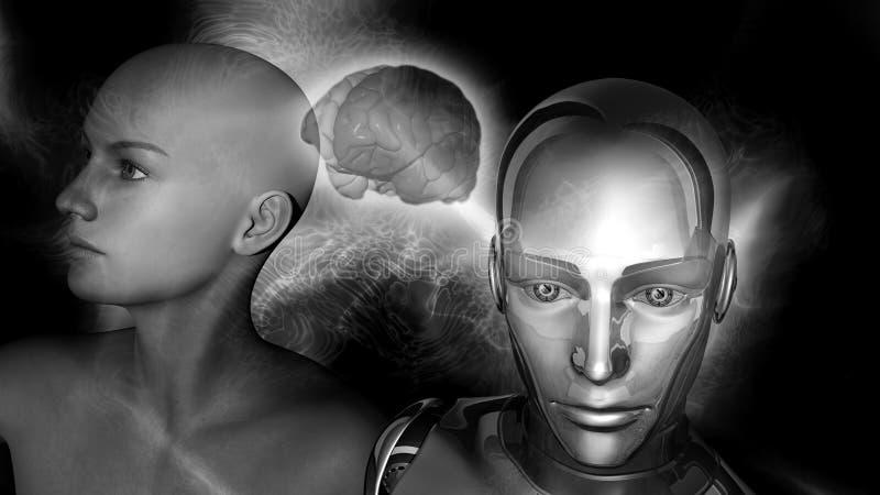 Искусственный интеллект - женщина робота соединенная к женскому мозгу иллюстрация штока