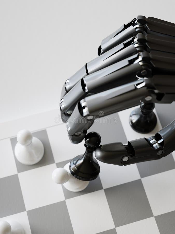 Искусственный интеллект играя концепцию иллюстрации шахмат 3d стоковые изображения