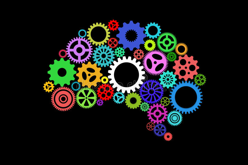 Искусственный интеллект с формой и шестернями человеческого мозга иллюстрация штока