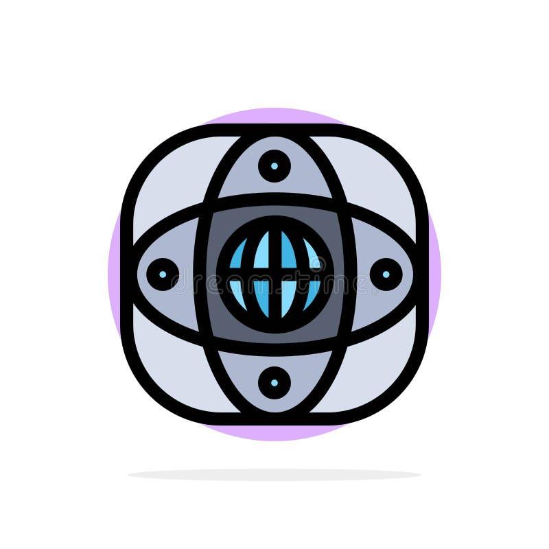 Искусственный, соединение, земля, глобальная, значок цвета предпосылки круга конспекта глобуса плоский иллюстрация вектора
