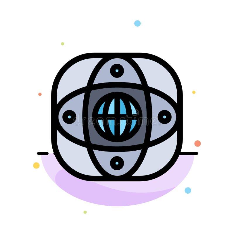 Искусственный, соединение, земля, глобальная, шаблон значка цвета конспекта глобуса плоский иллюстрация штока