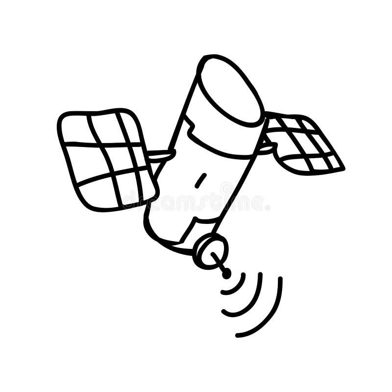 Искусственный спутниковый значок двигая по орбите иллюстрация вектора