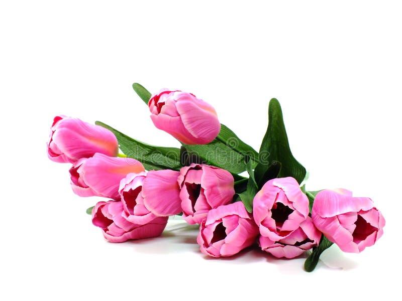 Искусственный тюльпан цветет букет изолированный на белой предпосылке стоковые фотографии rf