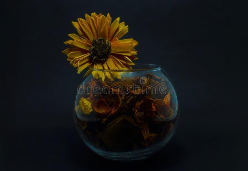 Искусственный цветок в прозрачной вазе стоковое фото rf