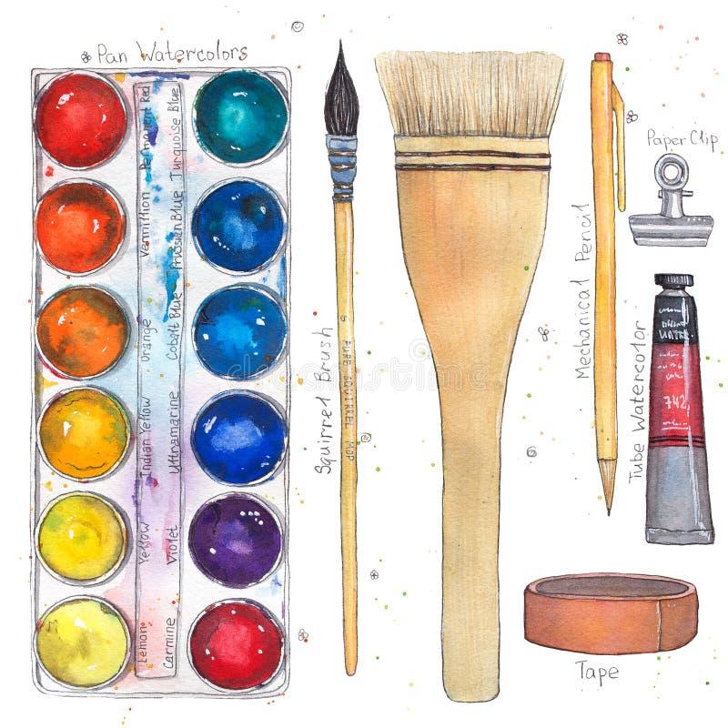 Искусство акварели поставляет паллет, щетки, ленту, бумажный зажим, механически карандаш, трубку иллюстрация вектора
