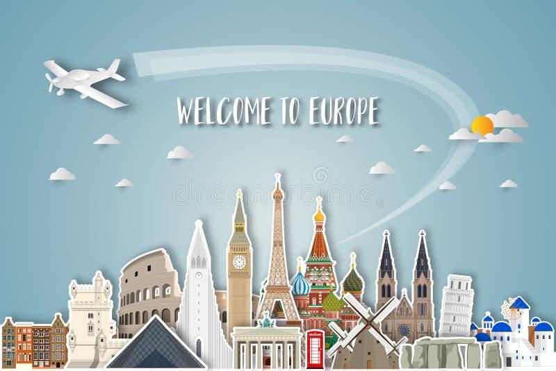 Искусство бумаги ориентир ориентира Европы известное Глобальное перемещение и путешествие Infographic Шаблон дизайна вектора плос иллюстрация штока