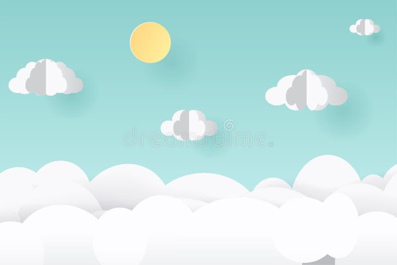 Искусство вектора бумажные и стиль ремесла Иллюстрация ландшафта природы, облако бесплатная иллюстрация