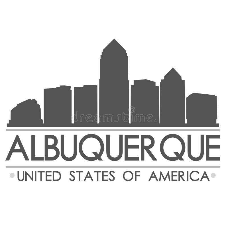 Искусство вектора города дизайна силуэта горизонта Альбукерке иллюстрация вектора