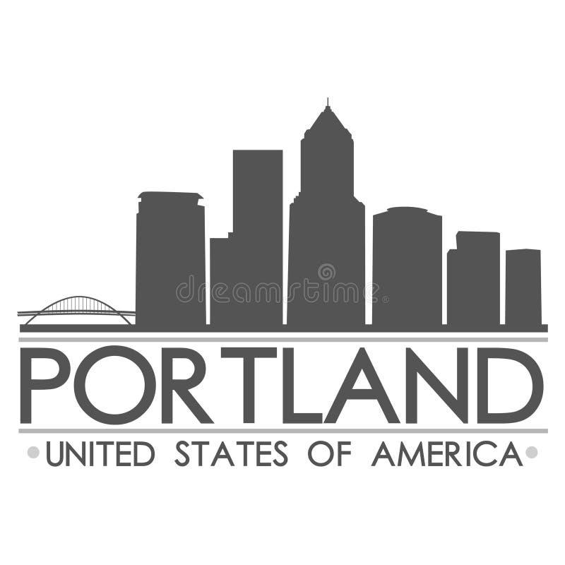 Искусство вектора города дизайна силуэта горизонта Портленда иллюстрация штока