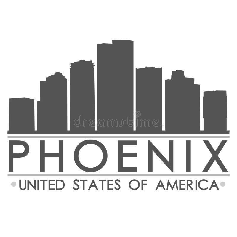 Искусство вектора города дизайна силуэта горизонта Феникса иллюстрация штока