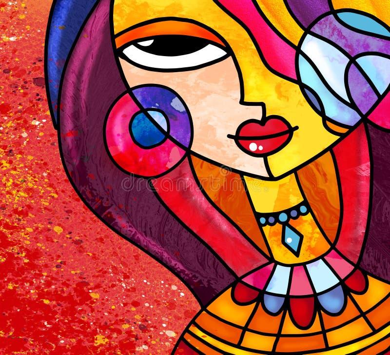 Искусство девушки стиля цветного стекла цифровое носит ожерелье и серьги иллюстрация вектора
