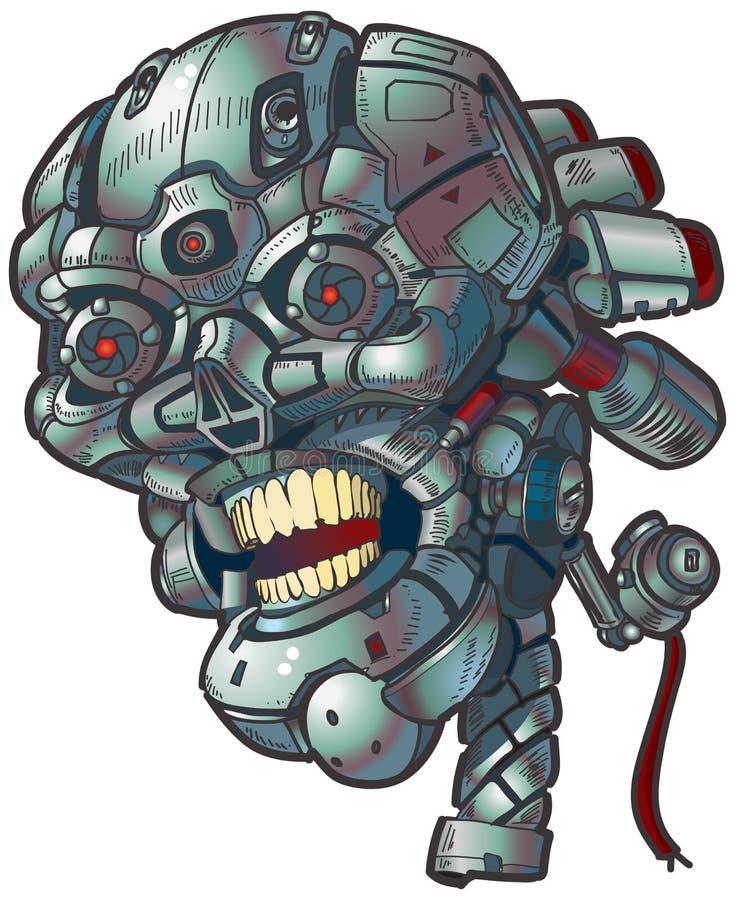 Искусство зажима вектора черепа робота иллюстрация штока