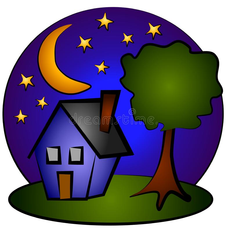 Искусство зажима дома Nighttime голубое стоковая фотография rf