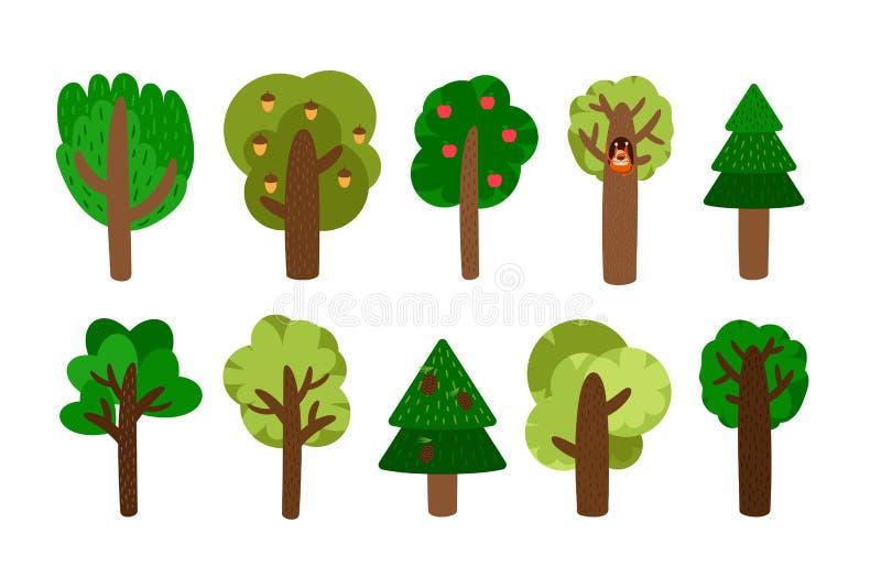 Искусство зажима деревьев вектора иллюстрация вектора