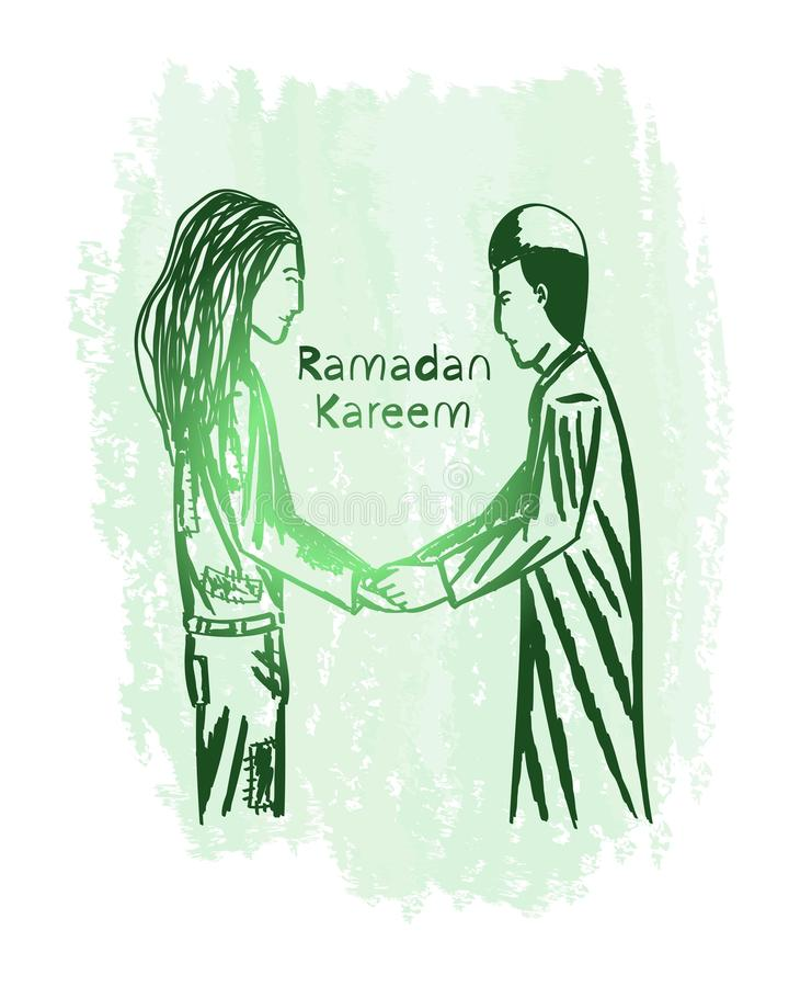 Искусство зеленой линии kareem Рамазана с предпосылкой grunge, дарит к бедным человекам стоковое изображение rf