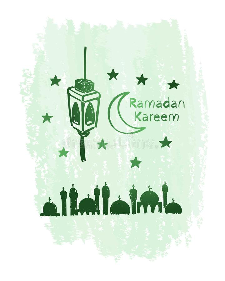 Искусство зеленой линии kareem Рамазана с предпосылкой grunge, мечетью, фонариком стоковое фото rf