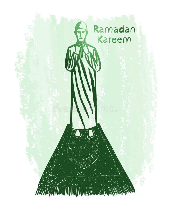 Искусство зеленой линии kareem Рамазана с предпосылкой grunge, молитвой стоковая фотография
