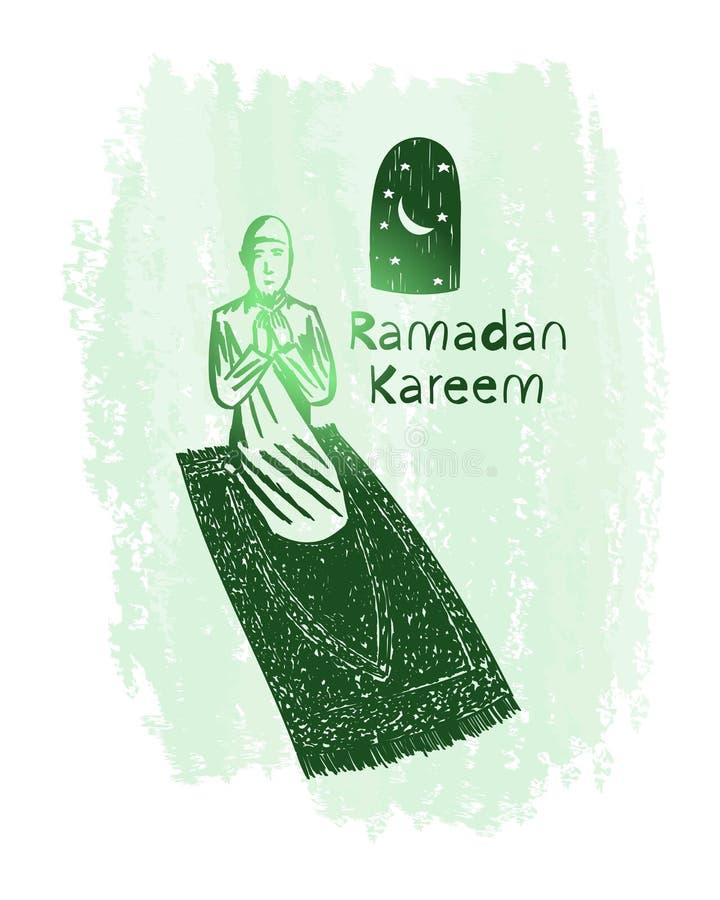 Искусство зеленой линии kareem Рамазана с предпосылкой grunge, молитвой, луной, звездой стоковое фото rf