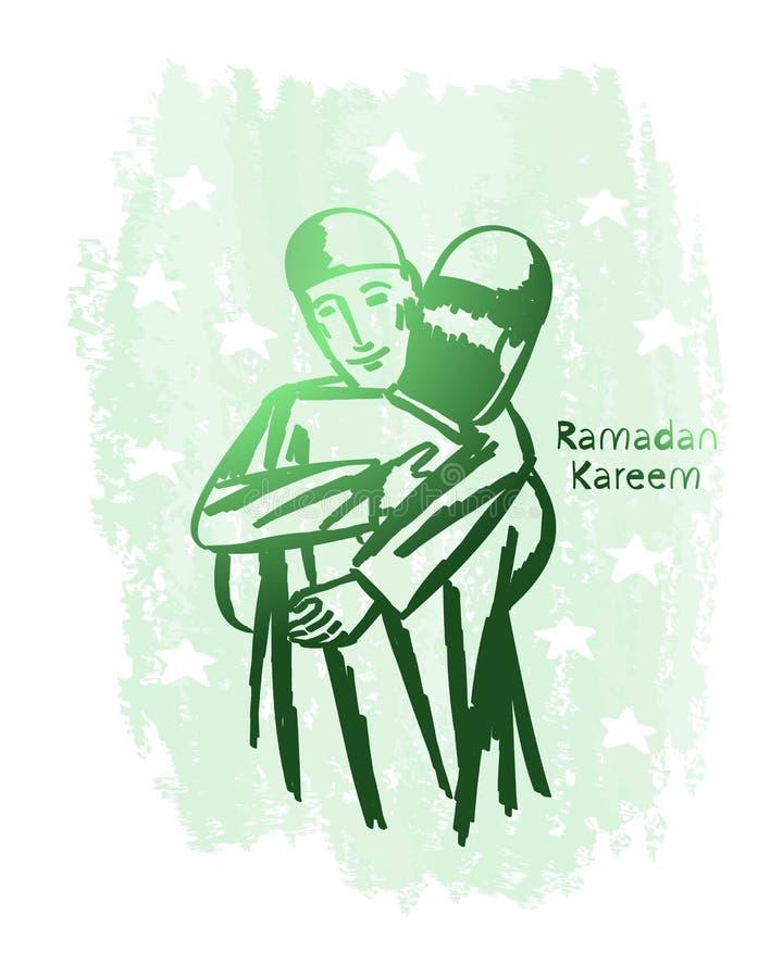 Искусство зеленой линии kareem Рамазана с предпосылкой grunge, прощением, объятием, миром стоковые фото
