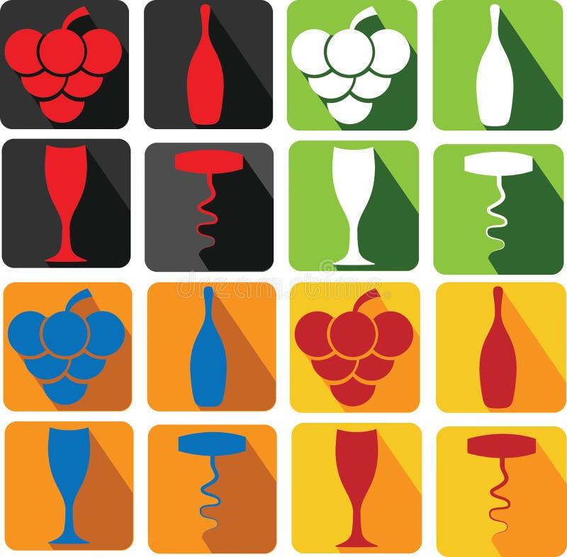 искусство значков вина иллюстрация вектора