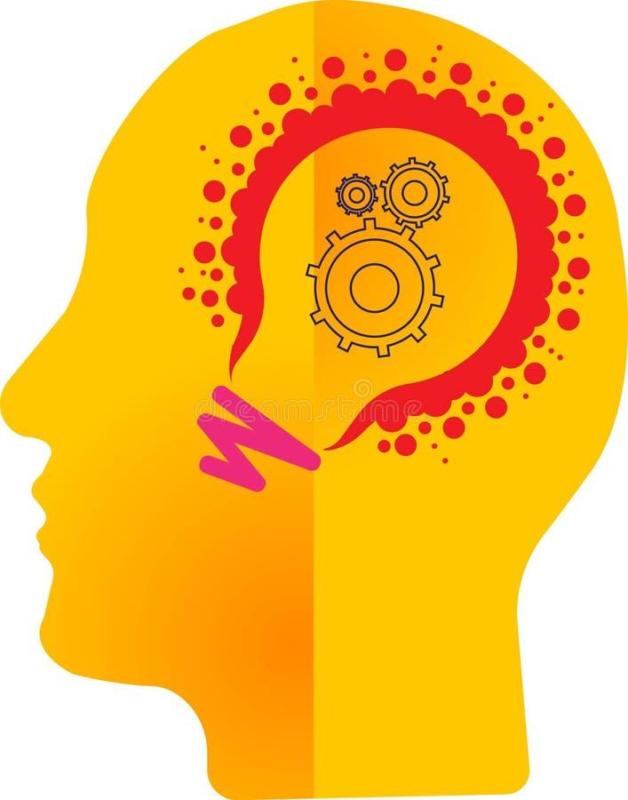 Искусство иллюстрации миллиона светлых логотипов лампы и разум зацепляют с изолированной предпосылкой иллюстрация вектора